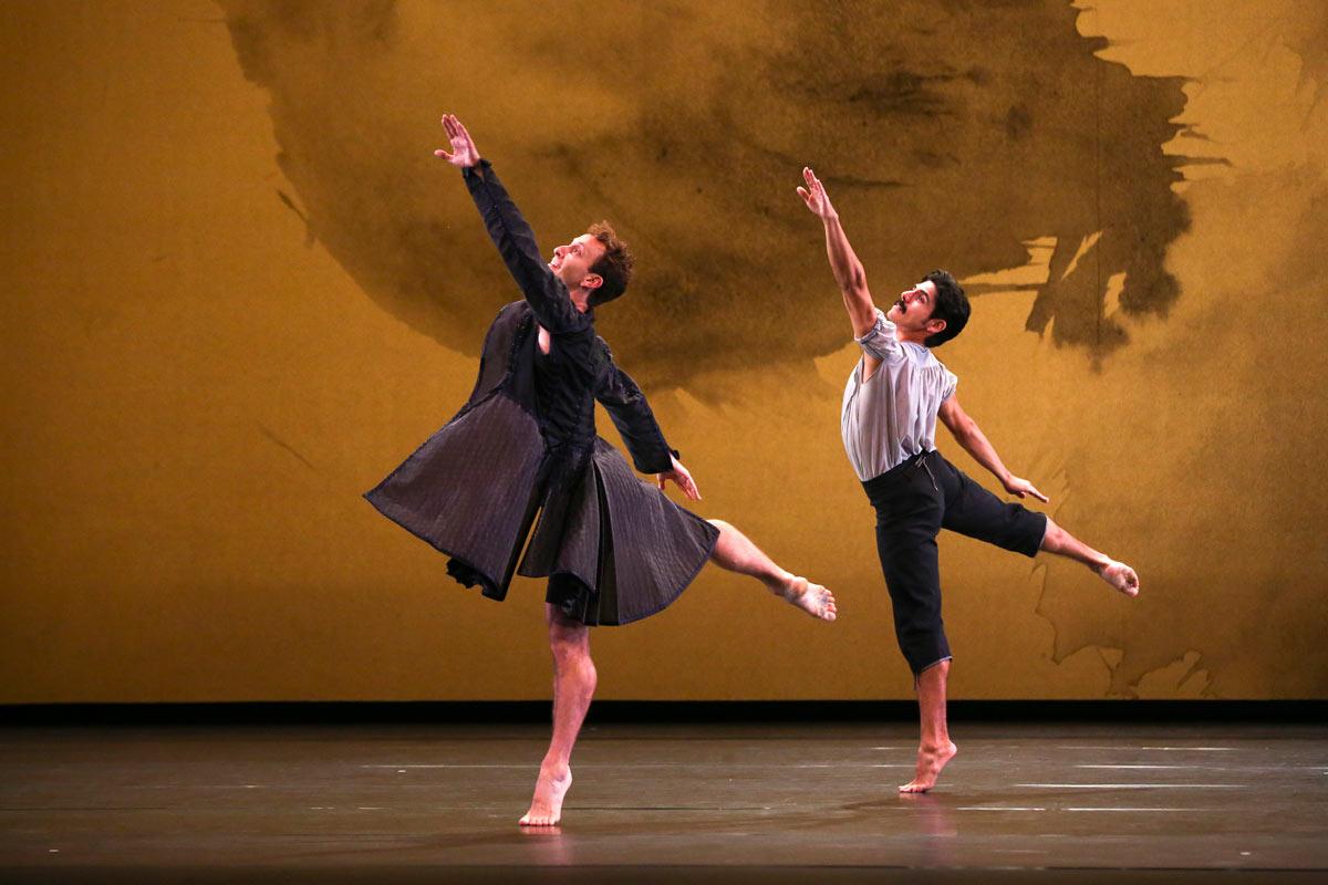 Aaron Loux and Domingo Estrada Jr in Mozart Dances.© Richard Termine. (Click image for larger version)