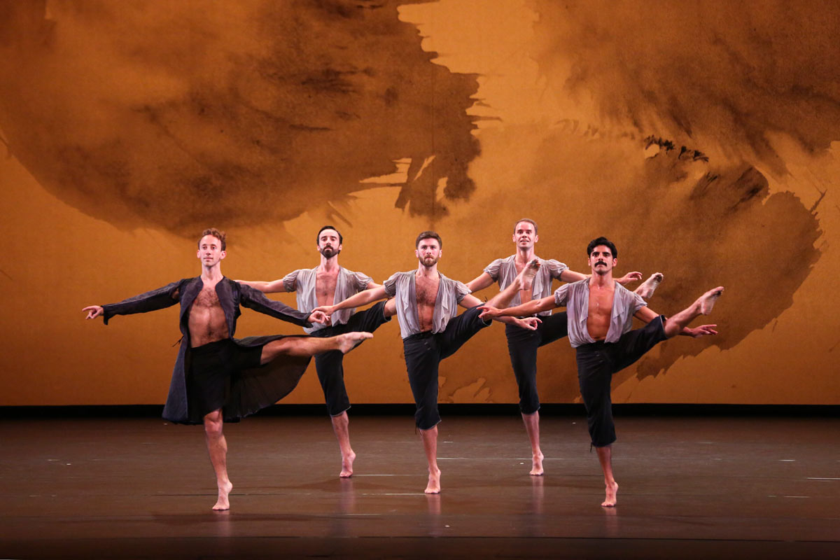 Aaron Loux, Brian Lawson, Sam Black, Noah Vinson and Domingo Estrada Jr in Mozart Dances.© Richard Termine. (Click image for larger version)