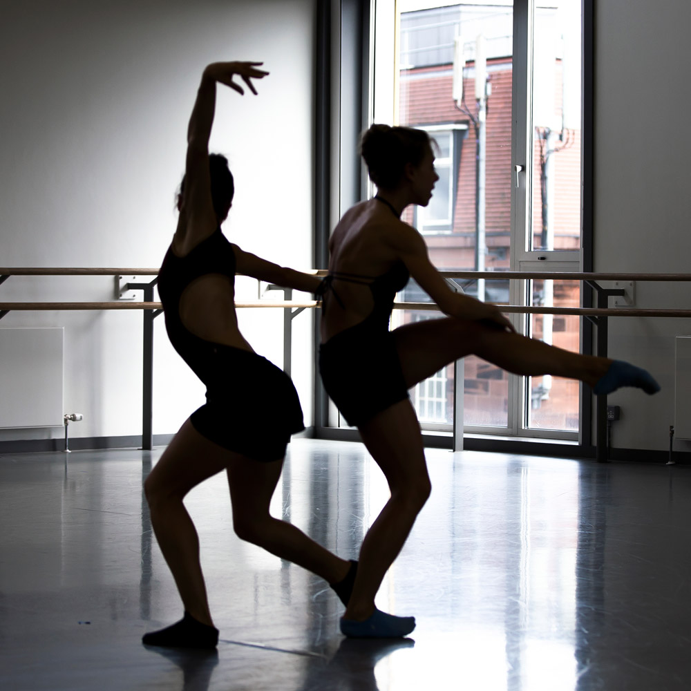 Claire Souet and Constance Devernay rehearsing Sophie Laplane's Sibilo.© Andy Ross. (Click image for larger version)