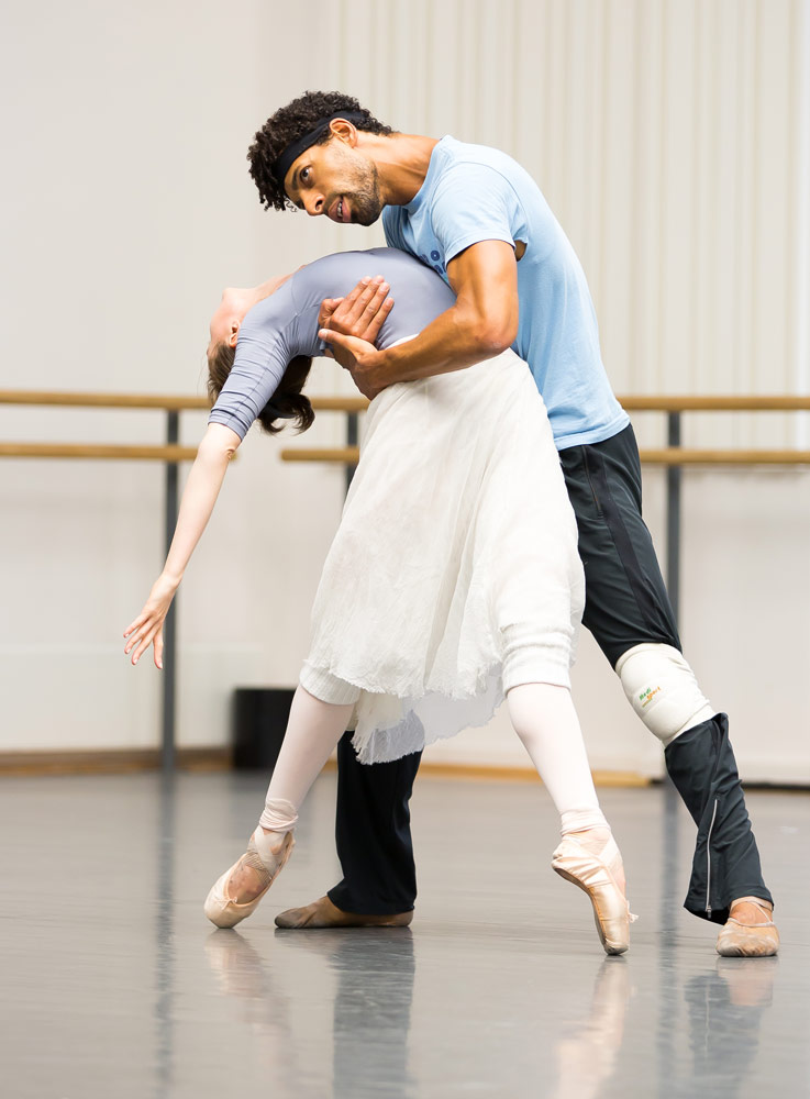 Jenna Roberts (Miranda) and Tyrone Singleton (Caliban) in the studio rehearsing <I>The Tempest</I>.<br />© Andy Ross. (Click image for larger version)