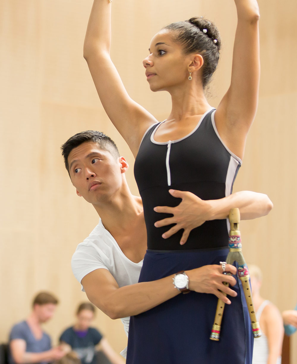 Tzu-Chao Chou (Pan) and Céline Gittens (Juno) in the studio rehearsing The Tempest.© Andy Ross. (Click image for larger version)