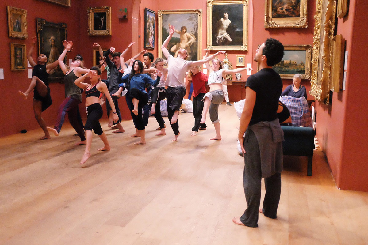 Rehearsing Dane Hurst's <I>Exodus</I> at Dulwich Picture Gallery.<br />© Dolly Brown. (Click image for larger version)