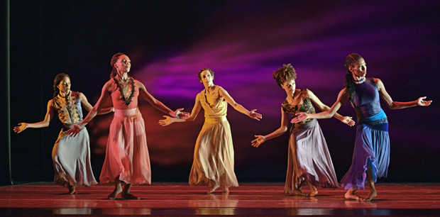 Jacqulin Harris, Samantha Figgins, Sarah Daley, Fana Tesfagioris and Jacqueline Green in Ronald K. Brown's <I>Open Door</I>.<br />© Dave Morgan. (Click image for larger version)