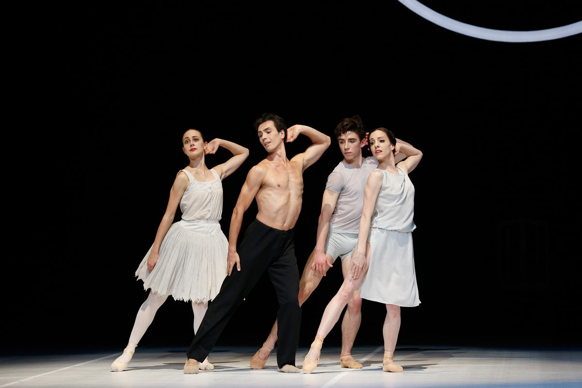 Dimity Azoury, Alexandre Riabko, François-Eloi Lavignac and Leanne Stojmenov in <I>Nijinsky</I>.<br />© Jeff Busby. (Click image for larger version)