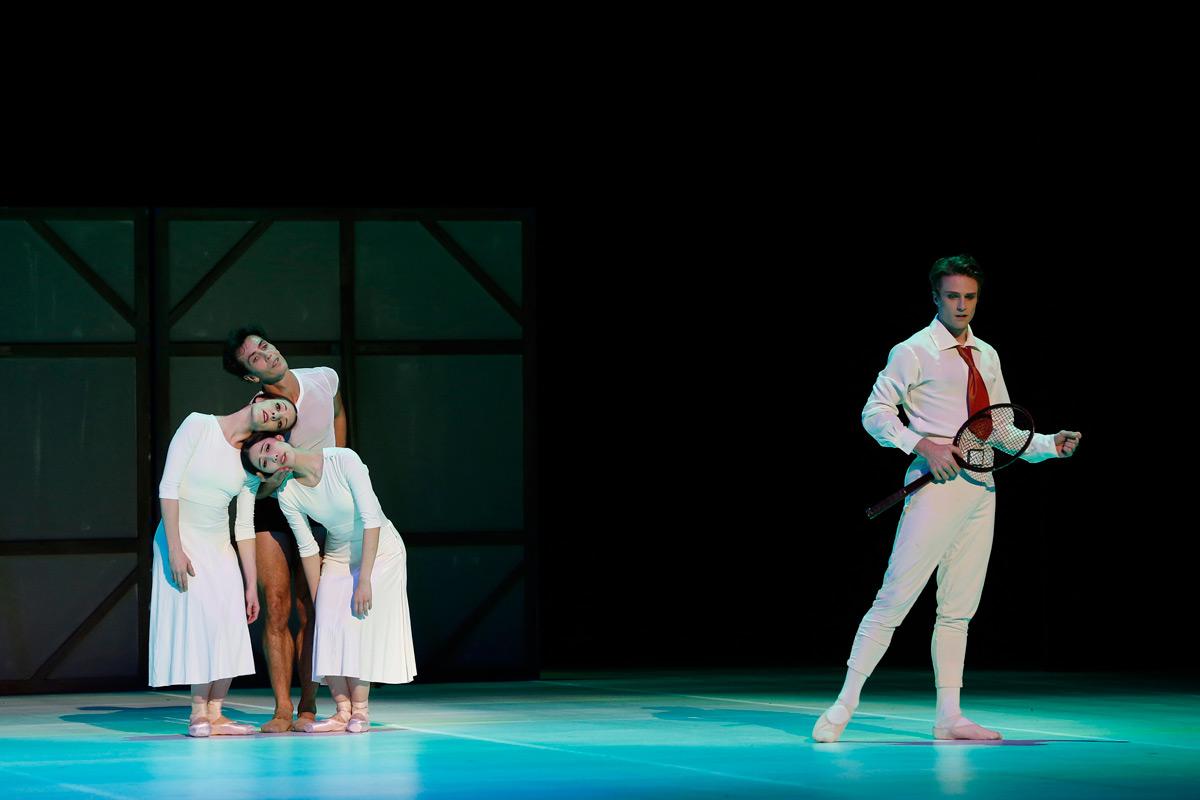 Leanne Stojmenov, Alexandre Riabko, Ako Kondo and Christopher Rodgers-Wilson in <I>Nijinsky</I>.<br />© Jeff Busby. (Click image for larger version)
