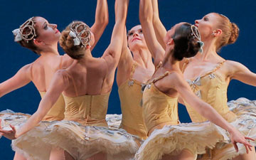 Lauren King, Abi Stafford, Megan Fairchild, Ana Sophia Scheller and Sterling Hyltin in Divertimento No. 15.© Paul Kolnik. (Click image for larger version)
