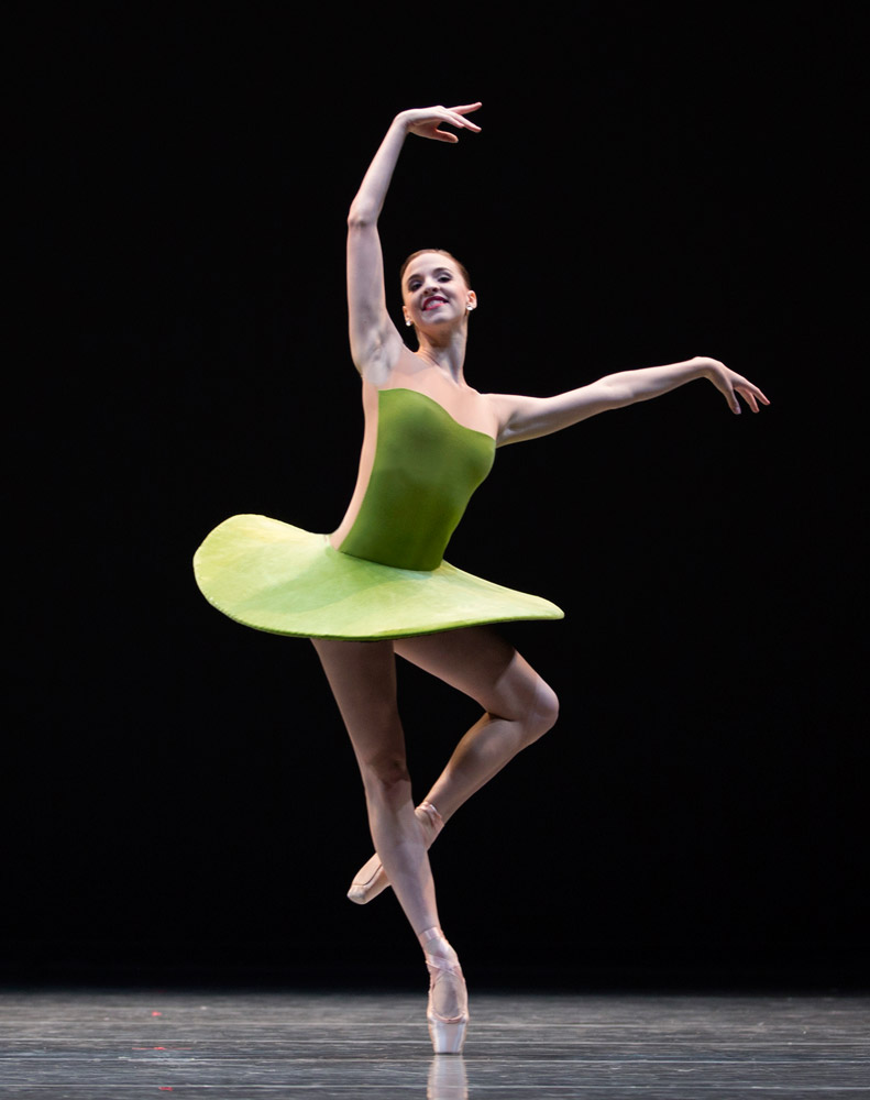 Chelsea Adomaitis, of Pacific Northwest Ballet, in Forsythe's <I>The Vertiginous Thrill of Exactitude</I>.<br />© Angela Sterling. (Click image for larger version)