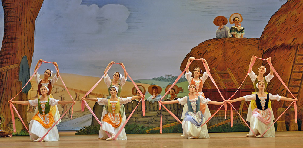 Gina Storm-Jensen, Tara-Brigitte Bhavnani, Romany Pajdak, Mayara Magri, Demelza Parish, Hannah Grennell, Tierney Heap, Annette Buvoli as friends of Lise in La Fille mal gardée.© Dave Morgan, courtesy the Royal Opera House. (Click image for larger version)
