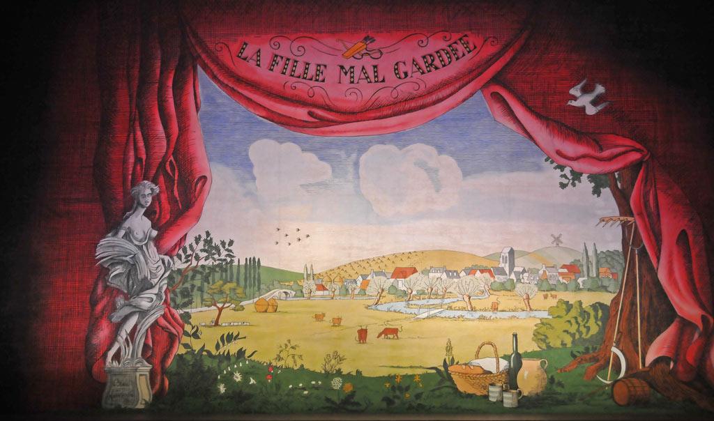 Osbert Lancaster's front screen for Frederick Ashton's La Fille mal gardée.© Dave Morgan, courtesy the Royal Opera House. (Click image for larger version)