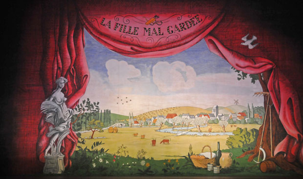 Osbert Lancaster's front screen for Frederick Ashton's <I>La Fille mal gardée</I>.<br />© Dave Morgan, courtesy the Royal Opera House. (Click image for larger version)