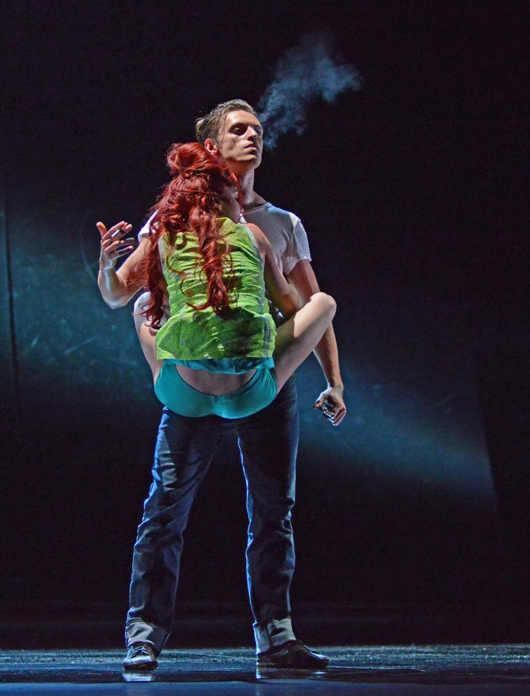 Natalia Osipova and Sergei Polunin in Arthur Pita's Run Mary, Run - part of Natalia Osipova's 2016 Sadlers Wells contemporary bill.© Dave Morgan. (Click image for larger version)