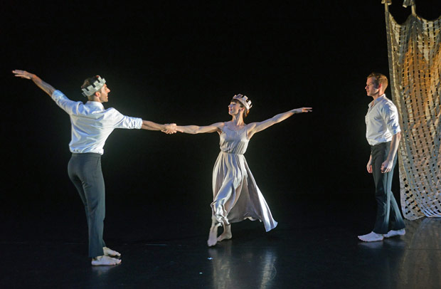 Edd Mitton, Amy Thake and Ben Warbis in Kenneth MacMillan's <I>Sea of Troubles</I>.<br />© Dave Morgan. (Click image for larger version)