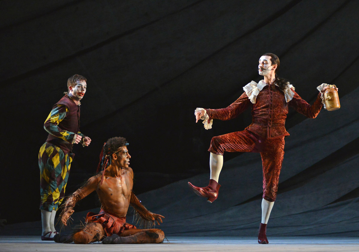 James Barton Trinculo), Tyrone Singleton (Caliban) and Valentin Olovyannikov (Stephano) in David Bintley's The Tempest.© Dave Morgan. (Click image for larger version)