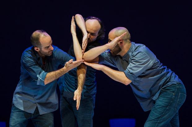 Johnny M. Lloyd, Sidi Larbi Cherkaoui and Patrick Williams Seebacher in <I>Fractus V</I>.<br />© Foteini Christofilopoulou. (Click image for larger version)