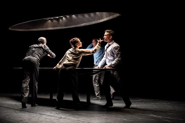 Roger Van der Poel, Rena Narumi, Imre van Opstal and Jon Bond in Crystal Pite's <I>Statement</I> for Nederlands Dans Theater 1.<br />© Stephen Wright. (Click image for larger version)