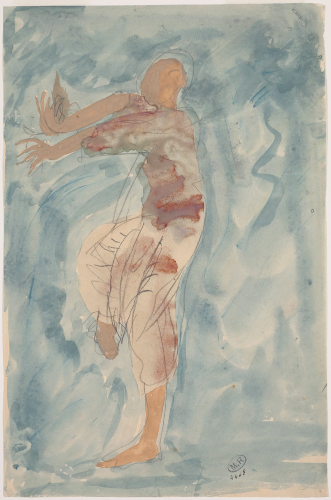 Cambodian Dancer in Profile. Auguste Rodin 1906/7. Pencil, watercolour and gouache on paper.© Musée Rodin, Paris, France. (Click image for larger version)
