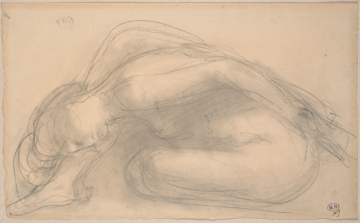 Seated nude folding forward. Auguste Rodin, 1910/11. Pencil with stump on paper.© Musée Rodin, Paris, France. (Click image for larger version)