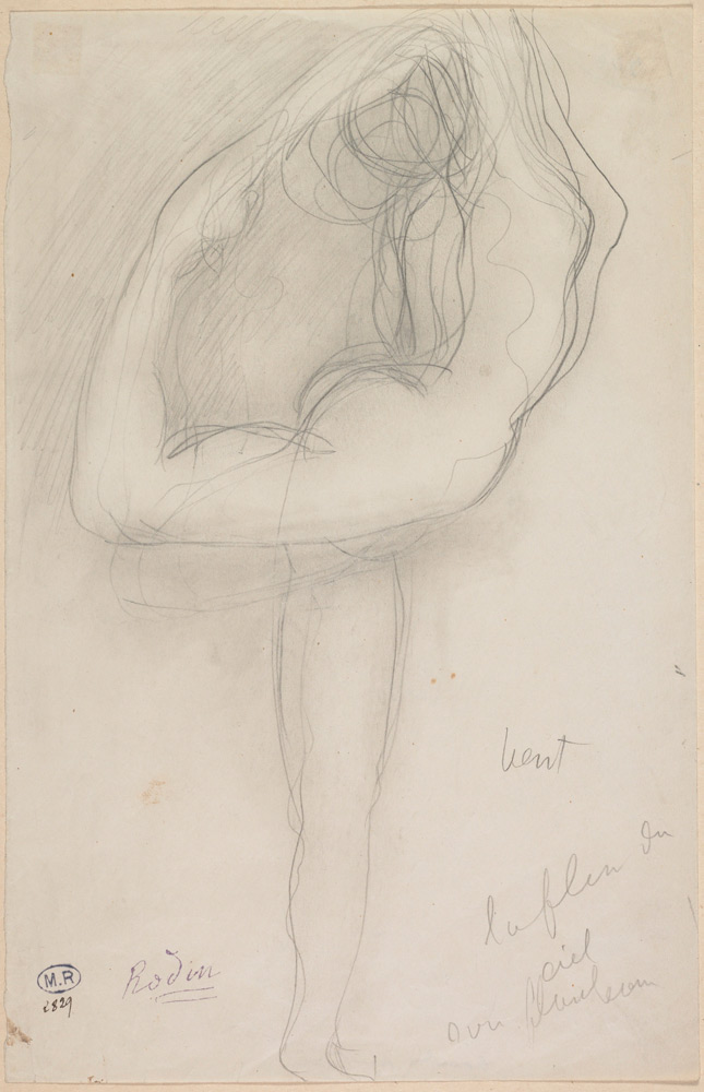 Standing Nude Holding Her Right Leg. Auguste Rodin, c. 1903. Pencil with stump on paper.© Musée Rodin, Paris, France. (Click image for larger version)