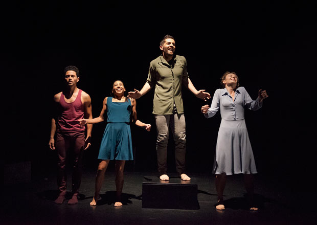Dane Hurst, Estela Merlos, Mathieu Geffre and Hannah Kidd in Didy Veldman's <i>The Happiness Project</I>.<br />© Chris Nash. (Click image for larger version)