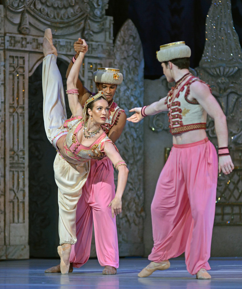 Tierney Heap, Fernando Montano and David Donnelly in <I>The Nutcracker</I>.<br />© Dave Morgan, courtesy the Royal Opera House. (Click image for larger version)