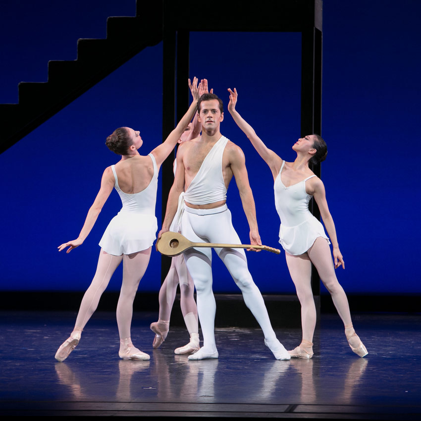 Robert Fairchild with Tiler Peck, Isabella Boylston and Misa Kuranaga in Balanchine's Apollo.© Erin Baiano. (Click image for larger version)