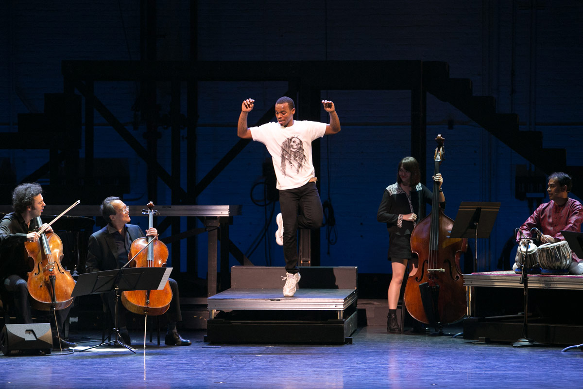 Lil Buck and musicians at Vail Dance Festival: ReMix NYC.© Erin Baiano. (Click image for larger version)