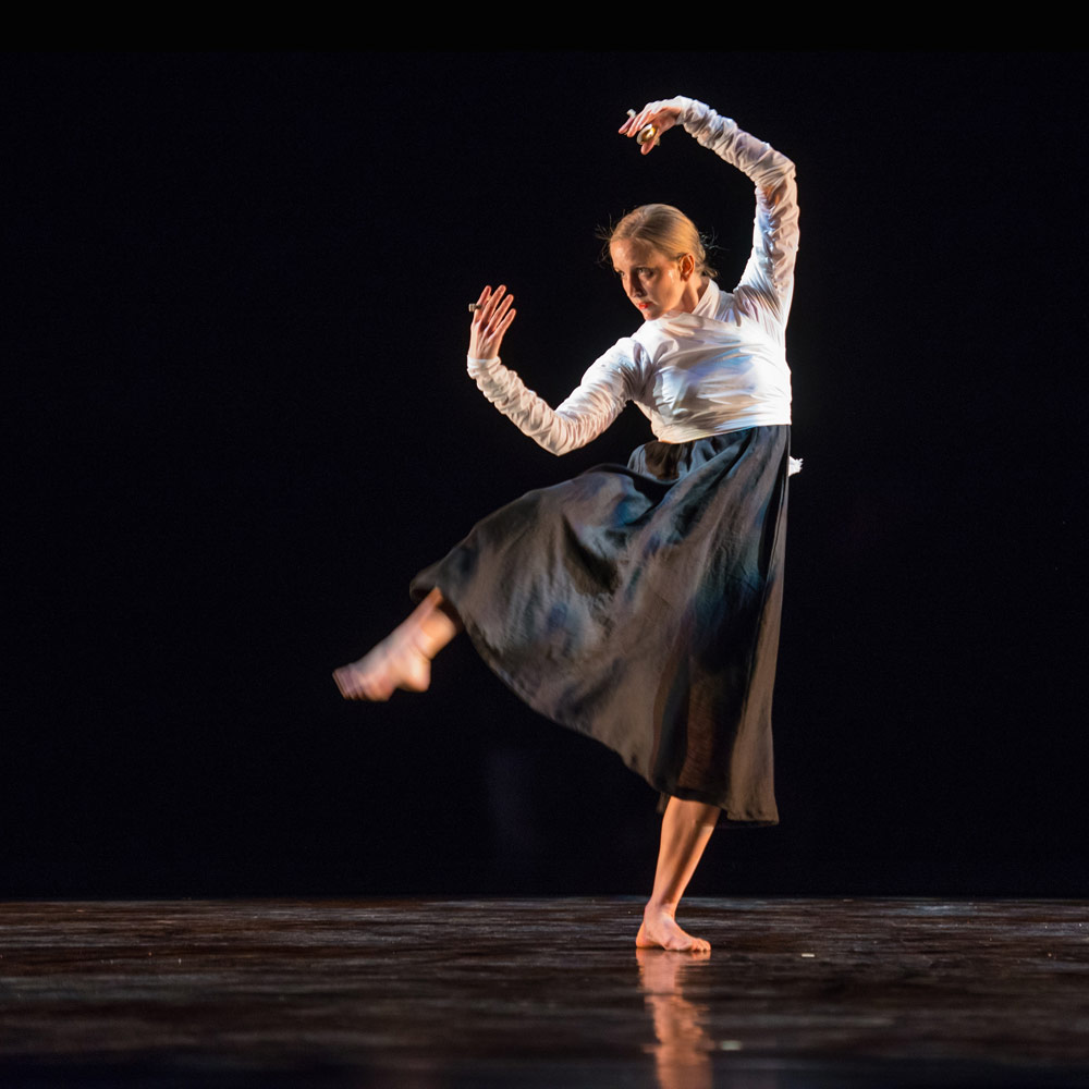 Lesley Garrison in Mark Morris' <I>Serenade</I>.<br />© Stephanie Berger. (Click image for larger version)