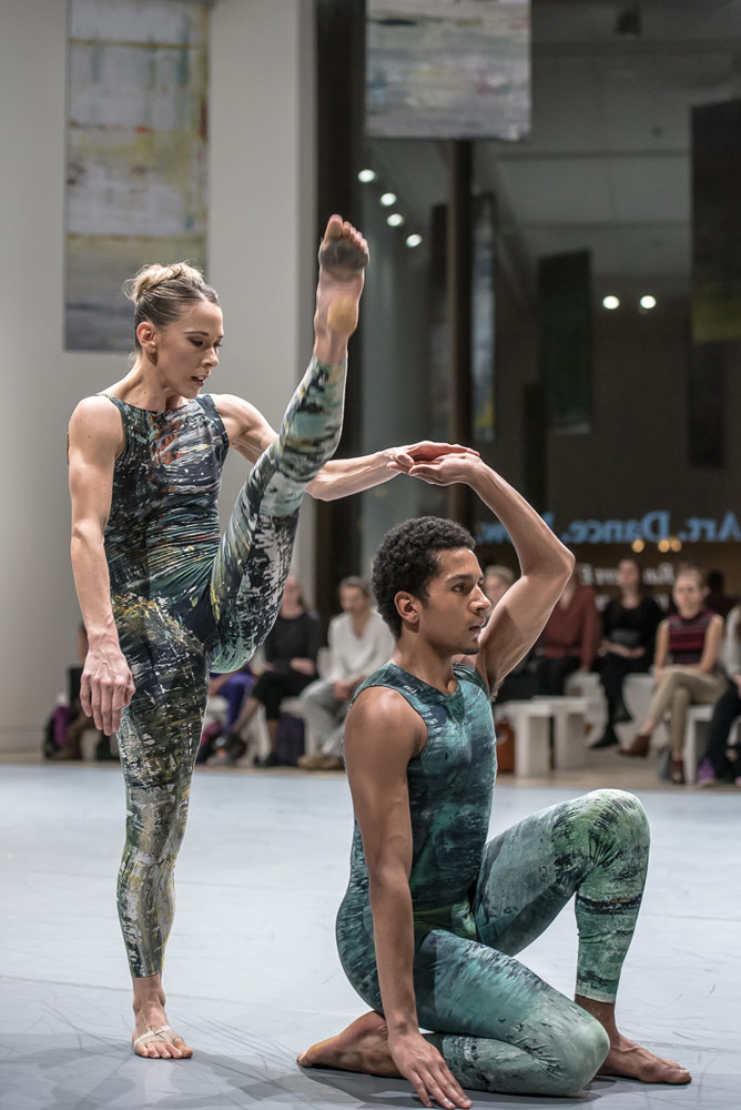Lucy Balfour and Jacob O'Connell in Merce Cunningham choreography at the Phillips' gallery Rambert Event.<br />© Stephen Wright. (Click image for larger version)