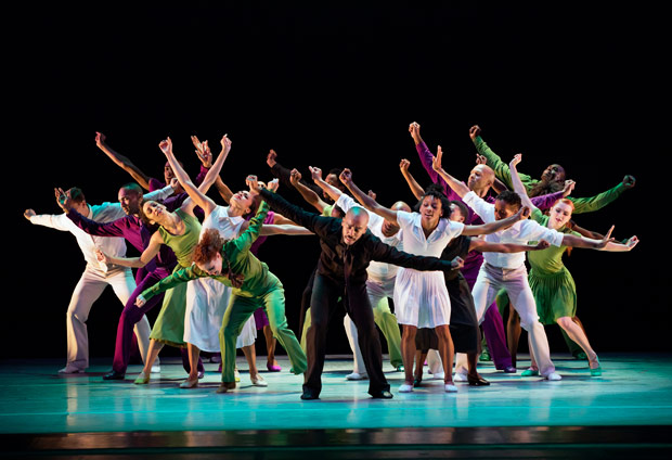 Alvin Ailey American Dance Theater in Hope Boykin's <I>r-Evolution, Dream</I>.<br />© Paul Kolnik. (Click image for larger version)