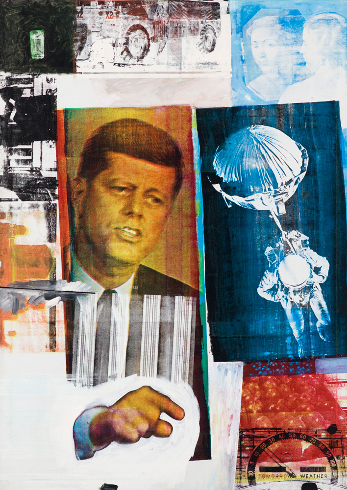 Robert Rauschenberg: Retroactive II (1964).Oil and silk-screen ink print on canvas.213.4 x 152.4 cm. Museum of Contemporary Art Chicago. Partial gift of Stefan T. Edlis and H. Gael Neeson.© Robert Rauschenberg Foundation, New York. Photo: Nathan Keay © MCA Chicago. (Click image for larger version)