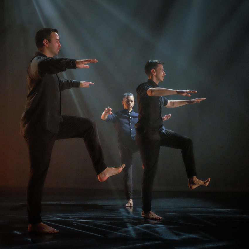 Nicholas Strafaccia, Gerald Casel and Samuel Wentz in Fluster.© Tim Russell. (Click image for larger version)
