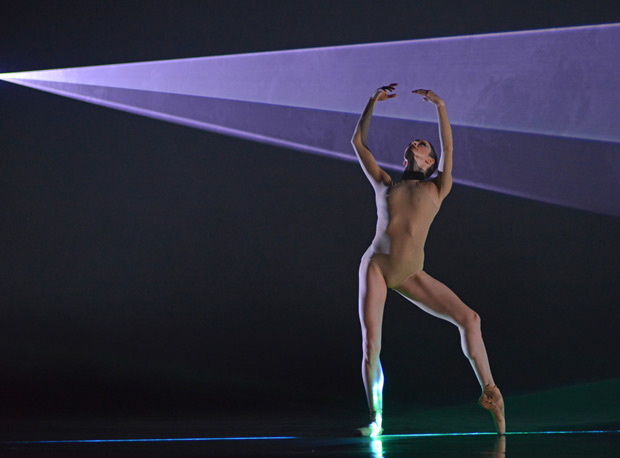 Olivia Cowley in the <I>Becomings</I> section of <i>Woolf Works</I>.<br />© Dave Morgan, courtesy the Royal Opera House. (Click image for larger version)