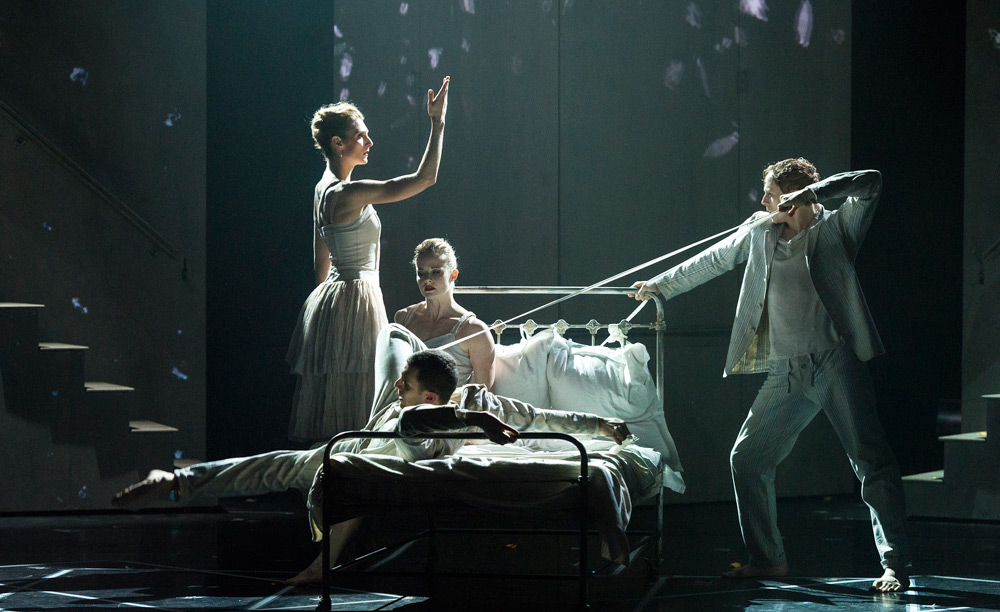 Zenaida Yanowsky, Gemma Nixon, Jonathan Goddard and Edward Watson in Les Enfants Terribles by Javier de Frutos.© Foteini Christofilopoulou, courtesy the Royal Opera House. (Click image for larger version)