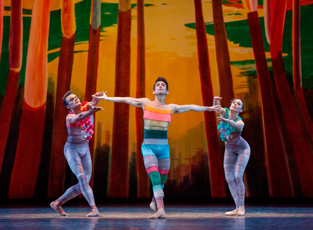Taylor Stanley, Anthony Huxley and Brittany Pollack in Justin Peck's <I>Scherzo Fantastique</I>.<br />© Paul Kolnik. (Click image for larger version)