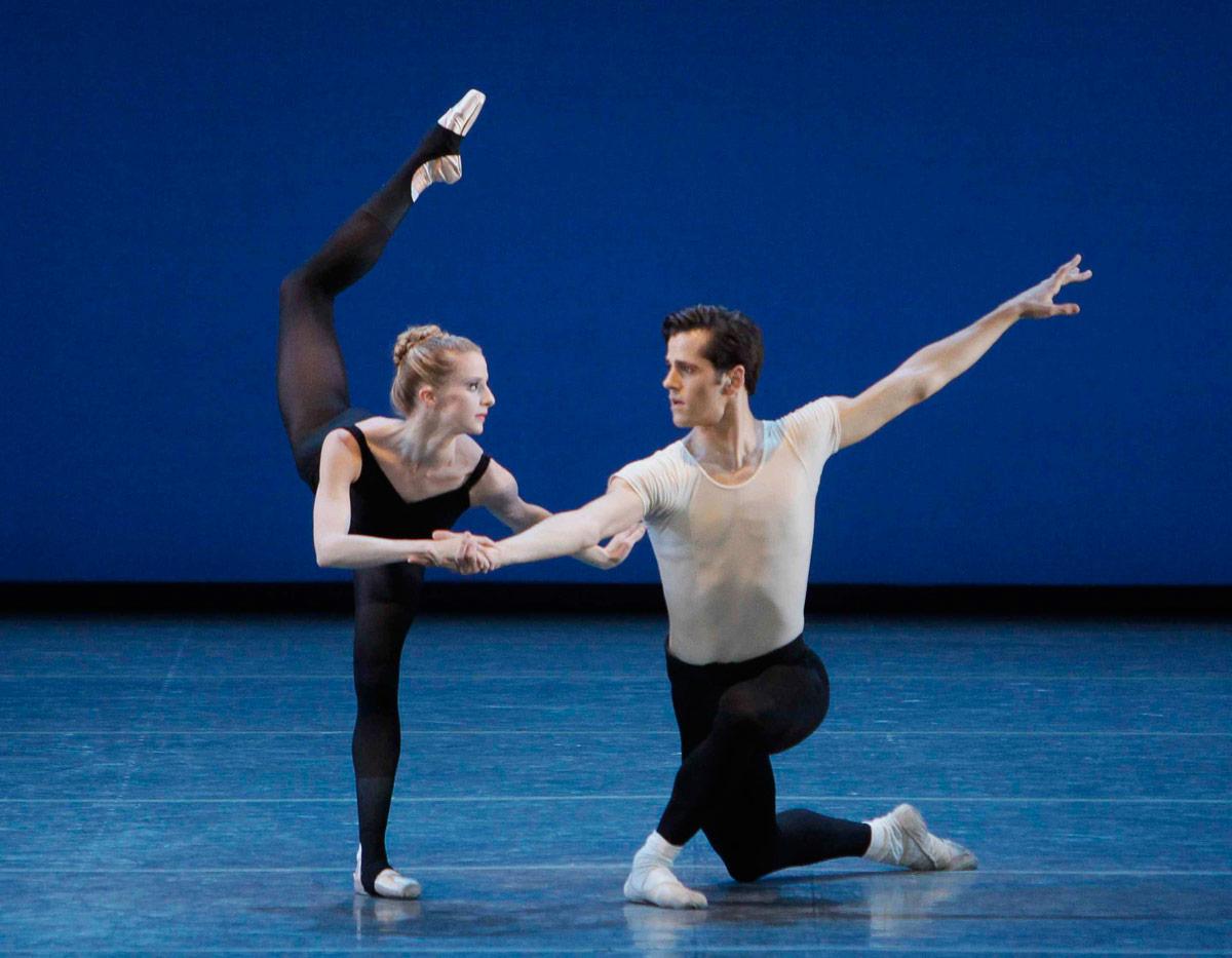 Sterlng Hyltin and Robert Fairchild in Balanchine's <I>Stravinsky Violin Concerto</I>.<br />© Paul Kolnik. (Click image for larger version)