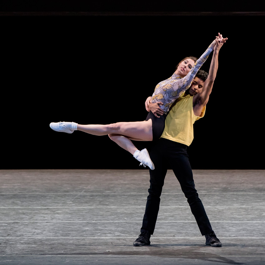 Tiler Peck and Amar Ramasar in Justin Peck's The Times are Racing.© Paul Kolnik. (Click image for larger version)
