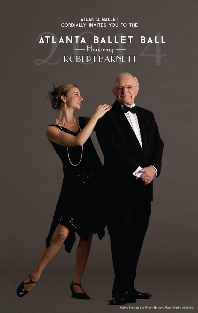Atlanta Ballet in 2014 feted its artistic director emeritus with a gala ball. Kelsey Ebersold, an apprentice with Atlanta Ballet at the time, is pictured along with Robert Barnett in costume for Barnett's Fascinatin' Rhythm.© Charlie McCullers, courtesy of Atlanta Ballet. (Click image for larger version)