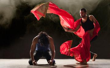 Sooraj Subramaniam and Shailesh Bahoran in Material Man redux.© Chris Nash. (Click image for larger version)