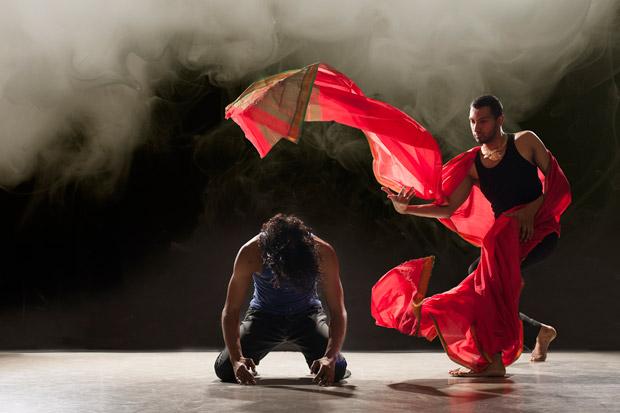 Sooraj Subramaniam and Shailesh Bahoran in <I>Material Man redux</I>.<br />© Chris Nash. (Click image for larger version)