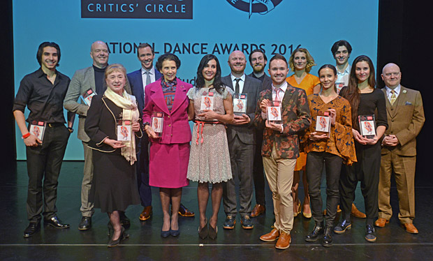 2016 National Dance Awards – The winners: Cesar Corrales, Kim Brandstrup, Brenda Last, Patrick Harrison, Dame Beryl Grey, Tamara Rojo, Gary Clarke, Jonathan Watkins, Chase Johnsey, Zenaida Yanowsky, Francesca Hayward, Reece Clarke, Celine Gaubert (representing Ching-Ying Chien) with Graham Watts.© Dave Morgan. (Click image for larger version)