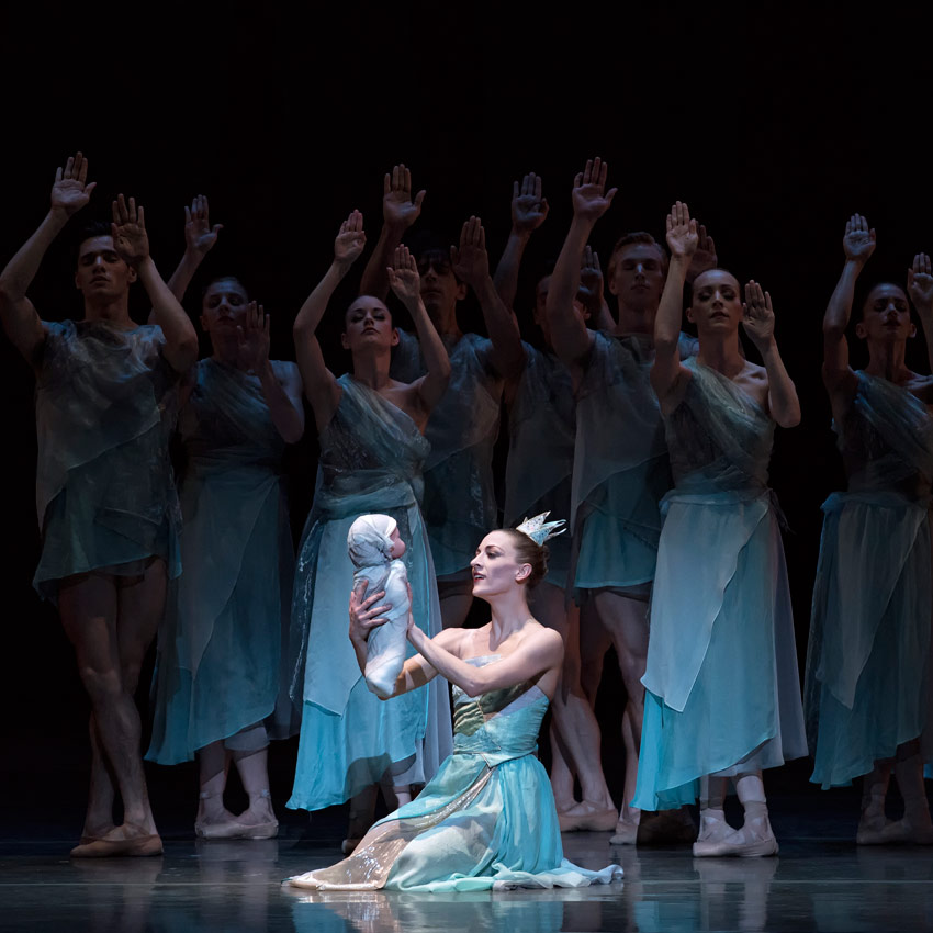 Simone Messmer and Miami City Ballet dancers in <I>The Fairy's Kiss</I>. Choreography by Alexei Ratmansky.<br />© Gene Schiavone. (Click image for larger version)