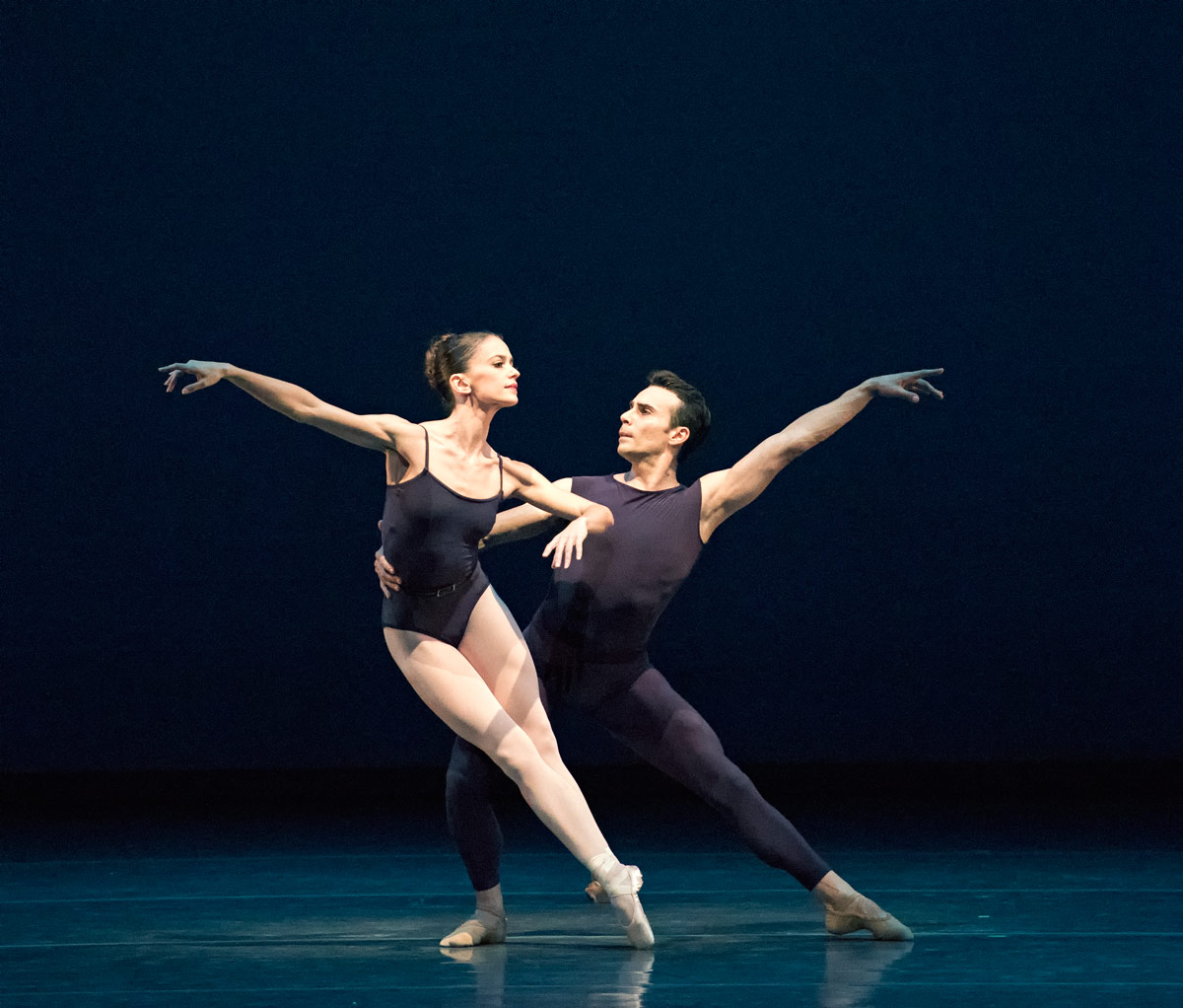 Emily Bromberg and Renato Penteado in <I>Polyphonia</I>. Choreography by Christopher Wheeldon ©.<br />© Gene Schiavone. (Click image for larger version)