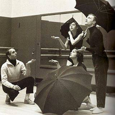 Jerome Robbins rehearsing The Concert with Allegra Kent, Wilma Curley and Robert Barnett, circa 1956–1958.Photo: Radford Bascome, from the collection of Robert and Virginia Barnett.