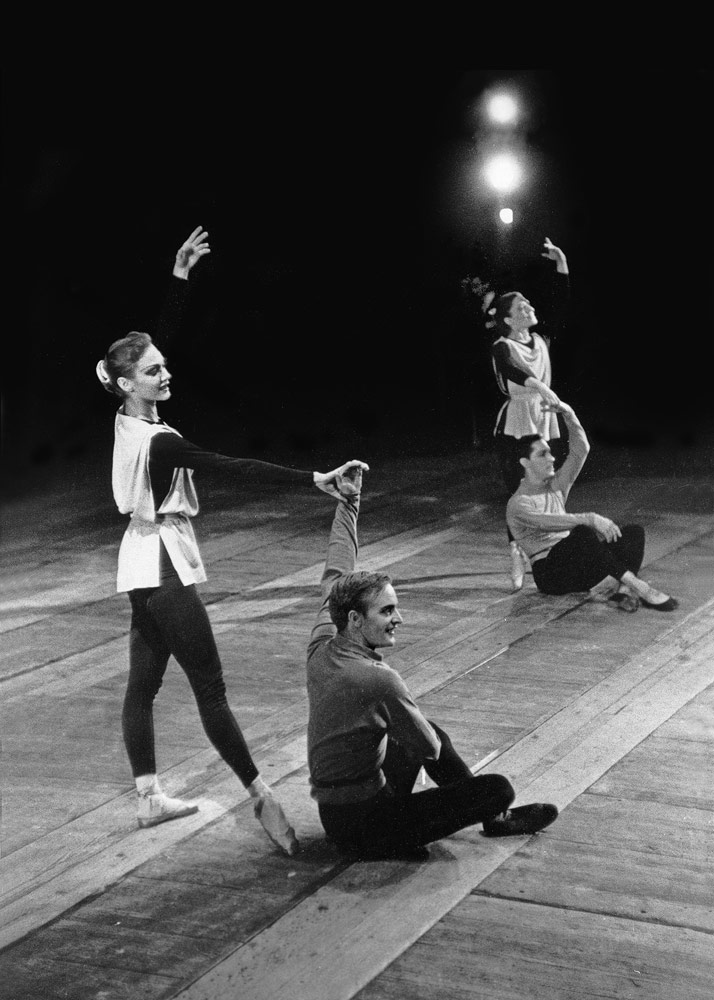 Jerome Robbins' Interplay, with Allegra Kent, Robert Barnett, Barbara Fallis and Herbert Bliss.Photo: uncredited, from the collection of Robert and Virginia Barnett. (Click image for larger version)