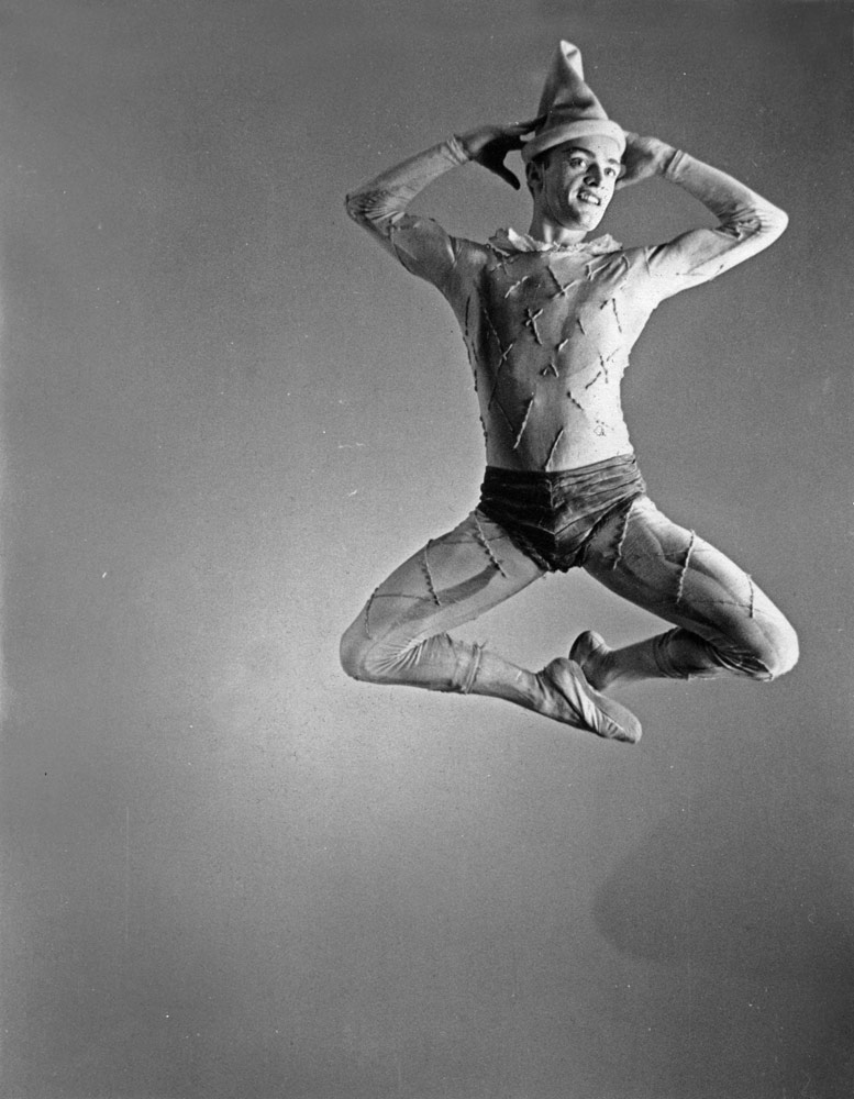 Robert Barnett in Jerome Robbins' <I>Ballade</I>, 1952.<br />Photo: Melton-Pippin, New York City Ballet, from the collection of Robert and Virginia Barnett. (Click image for larger version)
