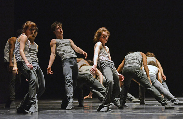 Kristen McNally and company dancers in Crystal Pite's <I>Flight Pattern</I>.<br />© Dave Morgan, courtesy the Royal Opera House. (Click image for larger version)