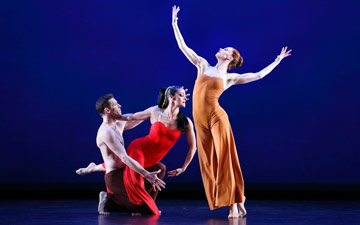Sean Mahoney, Parisa Khobdeh and Heather McGinley in Martha Graham's Diversion of Angels.© Paul B. Goode. (Click image for larger version)