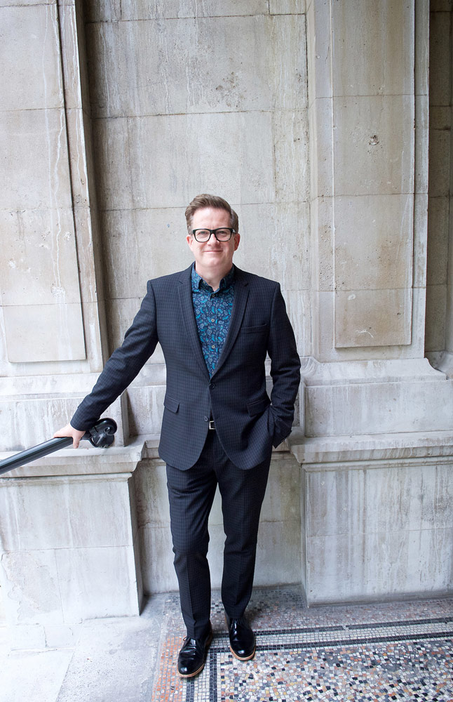 Sir Matthew Bourne arriving at the National Liberal Club.<br />© Elliott Franks. (Click image for larger version)