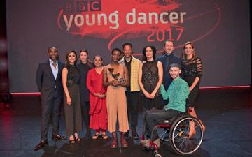 BBC Young Dancer Award 2017: Ore Oduba, Anita Rani, Kate Prince, Nahid Siddiqui, Nafisah Baba, Kenneth Tharp, Jasmin Vardimon, Kevin O'Hare, Marc Brew, Darcey Bussell.© BBC/Tristram Kenton. (Click image for larger version)
