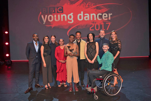 BBC Young Dancer Award 2017: Ore Oduba, Anita Rani, Kate Prince, Nahid Siddiqui, Nafisah Baba, Kenneth Tharp, Jasmin Vardimon, Kevin O'Hare, Marc Brew, Darcey Bussell.<br />© BBC/Tristram Kenton. (Click image for larger version)